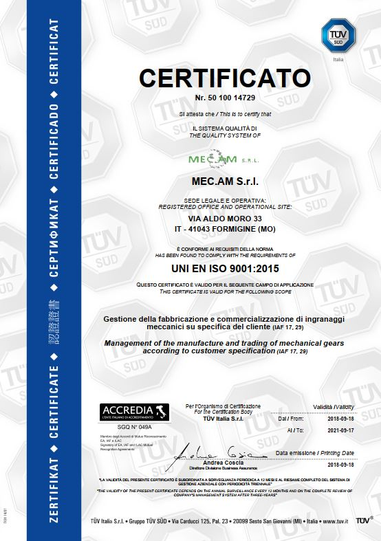 cerification UNI EN ISO 9001 : 2015 - 2